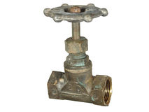 Old bronze water faucet isolated on a white background. Stock Photos