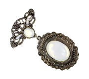 Old brooch with mother of pearl gem Stock Photo