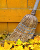 Old broom and autumn leaves. Close-up of the business end of an old straw broom amongst some autumn leaves Stock Image