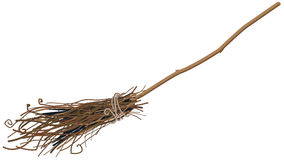 Old broom isolated Stock Photos