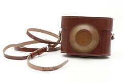 Old brown antique photo camera bag Royalty Free Stock Photos