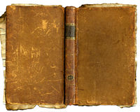 Old brown battered book. A old brown damaged book with scratches and marks Royalty Free Stock Photos