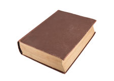 Old brown book close up. The old brown book isolated on a white background Stock Image