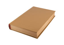 Old brown book close up. The old brown book isolated on a white background Stock Images
