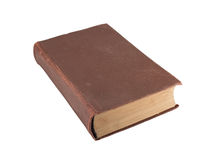 Old brown book close up. The old brown book isolated on a white background Royalty Free Stock Photo