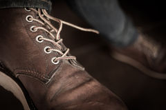Old brown boot leather shoes Stock Photo