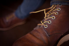 Old brown boot leather shoes Stock Images