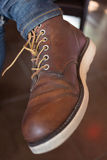 Old brown boot leather shoes Royalty Free Stock Image