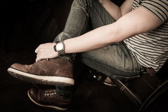 Old brown boot leather shoes fashion of man Stock Images