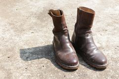 Old brown boots Stock Photos