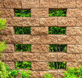 Old Brown Brick Fence with Green Leaves, Vertical Pattern Royalty Free Stock Images