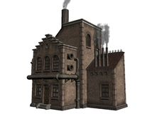 Old brown building. Illustration of old industrial building with smoke stacks isolated against a white background Royalty Free Stock Photo