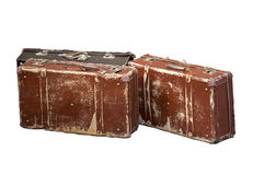 Old brown cheap suitcases Royalty Free Stock Photo