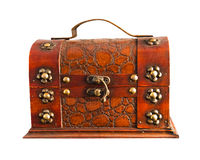Old brown chest isolated Royalty Free Stock Photo