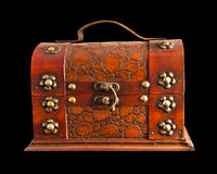 Old brown chest isolated Stock Images