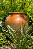 Old Brown clay jug at green garden with metal chain Royalty Free Stock Image
