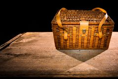 Old brown closed basket royalty free stock images
