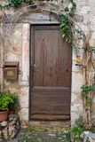 Old Brown Door. A photo of an old door with vines and a mailbox Royalty Free Stock Photos