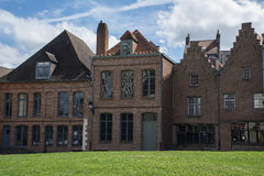 Old brown european buildings with green grass and blue sky Royalty Free Stock Photos
