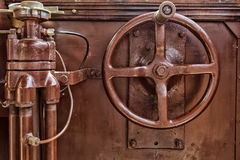 Old brown governing tool of a tram. Old governing tool of a tram Royalty Free Stock Photography