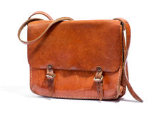 Old brown leather bag Stock Photography