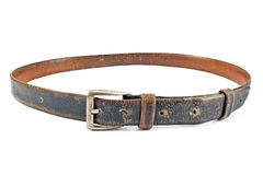 Old brown leather belt Royalty Free Stock Photos