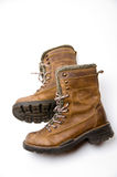Old Brown Leather Boots. With White Background Royalty Free Stock Photo