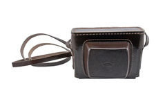Old brown leather camera case Stock Photography