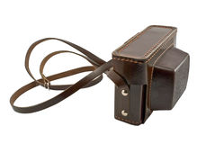 Old brown leather camera case Royalty Free Stock Photos