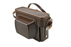 Old brown leather camera case Stock Photo