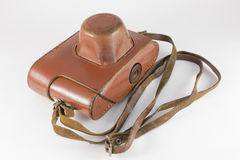 Old brown leather camera case Royalty Free Stock Photo