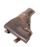Old brown leather holster. Royalty Free Stock Photography