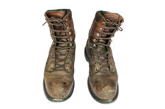Old brown leather men's boots. Royalty Free Stock Photo