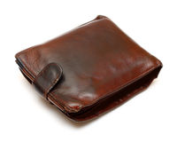 Old brown leather purse Royalty Free Stock Image