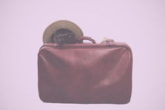 Old brown leather suitcase ready for travelling Vintage Retro Fi Stock Photos