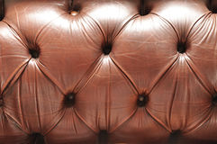 Old brown leather texture. Of sofa backrest Royalty Free Stock Photos