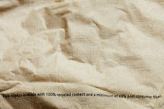 Old brown napkin made from recycle fibers. Old brown napkin made from recycle fibers in the scene Royalty Free Stock Image