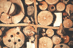 Old brown natural wood background, bee house. Stock Photos