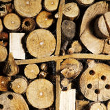Old brown natural wood background, bee house. Royalty Free Stock Image