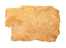 Old ripped paper. Old brown paper isolated on white Stock Photo