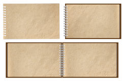 Old brown paper notebook. Horizontal isolated on white background Royalty Free Stock Photos