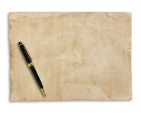 Old brown paper and pen isolated on white background Royalty Free Stock Images