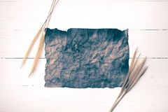 Old brown paper and wheat vintage style Royalty Free Stock Images