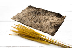Old brown paper and wheat Royalty Free Stock Image