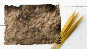 Old brown paper and wheat Stock Photography