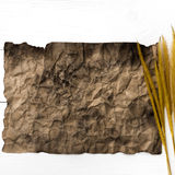 Old brown paper and wheat Royalty Free Stock Photos