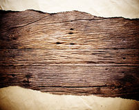 Old brown paper on wood Stock Photos