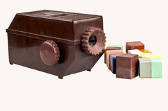 Old brown dia projector with bunch of slide Stock Photography