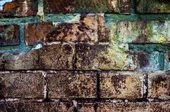 Rough brick wall. Old brown rough brick wall. Abstract grunge background Royalty Free Stock Images