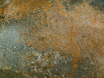 Old brown rusty metal plate is aged and corroded. Texture of grungy frame and corrosion stain. Royalty Free Stock Photos